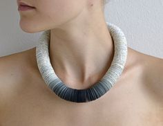 Statement Necklace made of book pages and papers: OMBRA S gray. €80.00, via Etsy.