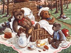 Bears Picnic, a painting of ma and pa bear sitting in the wicker picnic basket while baby bear sits with tea and dessert, one of the Janet Kruskamp Teddy Bear Gallery of original paintings by Janet Kruskamp Painting Edges, Painting Prints, Art Prints, Bear Paintings, Original Paintings, Bear Gallery, Bear Art, Stretched Canvas Prints, Canvas Art