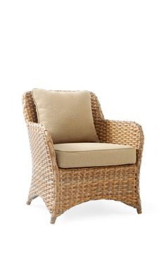 A high-backed outdoor armchair with off-white showerproof back and seat cushions, hand-woven from easy care, synthetic rattan. Rattan Armchair, Outdoor Armchair, Outdoor Chairs, Outdoor Furniture, Ibiza Style Interior, Coastal Interior, Garden Lounge Chairs, Pedicure Chairs For Sale, Dining Arm Chair