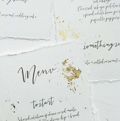 Gorgeous calligraphy. The gold foil adds a touch of luxury.