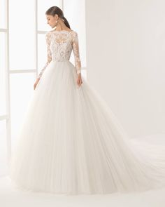 Dress of the week - Rosa Clara - A boat neck princess wedding dress with sheer bodice adorned with romantic lace details with sleeves. Hong Kong