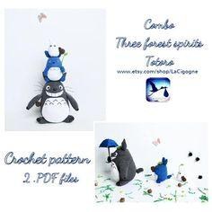 Combo Totoro amigurumi pattern PDF file Tree forest spirits #totoro #crochetpattern #amigurumipattern Amigurumi Patterns, Crochet Patterns, Doll Toys, Dolls, Tree Forest, Totoro, Crochet Toys, Baby Gifts, Snoopy