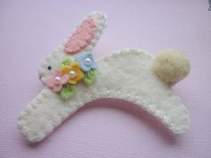 Easter Brooch Bunny Felt Pastel Spring Easter Flowers Pin. $14.00, via Etsy.