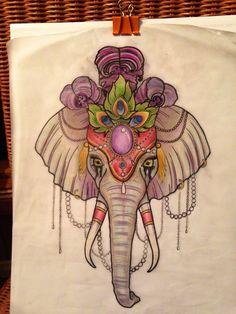 Neo traditional Circus Elephant tattoo design