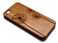 iphone 5 wood case with sturdy rubber bumper - bamboo, cherry or black walnut wood - laser engraved - Dandelion