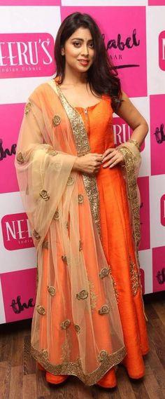 Pinterest:@Littlehub || คdamant love on Anarkali's ✿。。ღ || Shriya in Orange anarkali suit