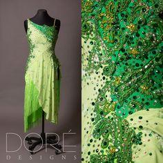 Light Green Latin w/ Green Appliques, Overlay, Back Drape, & Fringed Skirt