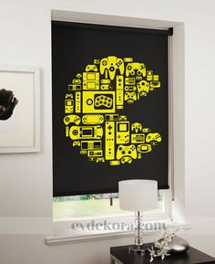 lifestyle pacman yellow on black Game On: Relive the 8 bit era with designer blinds Roller Shades, Roller Blinds, Video Game Rooms, All Video Games, Deco Gamer, Gamer Bedroom, Ikea Bedroom, Bedroom Curtains, Bedroom Ideas