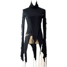 Embrace of Darkness Assymetric Gothic Top by Punk Rave ($63) ❤ liked on Polyvore featuring tops, lace up front top, blue top, long sleeve tops, gothic tops and goth top