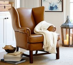 Living room chair idea (set of Thatcher Leather Wingback Chair Furniture, Chair Design, Wingback Chair, Wingback Chair Living Room, Chair, Home Decor, Leather Wingback Chair, Pottery Barn Living Room, Leather Chair