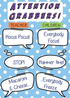 Attention grabbers - to promote independent and collaborative learning...
