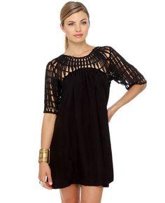 Web and Flow Black Dress