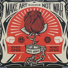 Shepard Fairey unveils Make Art Not War for Urban Nation in Berlin Germany Protest Kunst, Protest Art, Protest Posters, Movie Posters, Urban Street Art, Urban Art, Street Art Graffiti, Illustrations, Illustration Art
