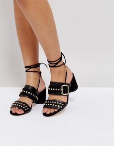 River Island Lace Up Studded Mules