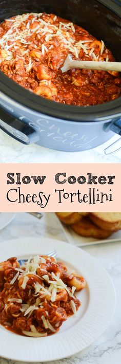 Slow Cooker Cheesy Tortellini - easy and delicious recipe! I make this at least once a month!