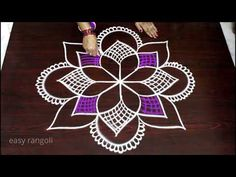 freehand rangoli art designs with colors    creative kolam designs with 9 dots   color muggulu - YouTube