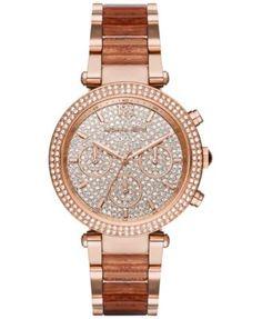 Michael Kors Women's Chronograph Parker Rose Gold-Tone Stainless Steel & Rose Glitter Acetate Bracelet Watch 39mm MK6285
