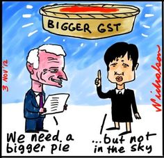 Nick Greiner radical report on GST should be higher and wider Penny Wong horrified cartoon (3 November 2012)