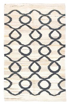 "Smaller Rug! 5' x 3'3"" Flat weave rug; 100% organic wool; Pera natural with slate-grey pattern $458. #DH214"