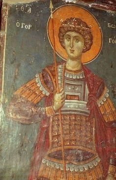 Byzantine Art, Saint George, Saints, Samurai, Painting, Archangel Michael, Fresco, Soldiers, Painting Art