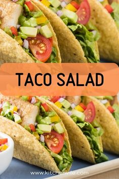 Taco Salad Recipe. The best Taco salad you will ever have. It is healthy and delicious at the same time. You will make it in a matter of minutes. taco dishes/ taco ideas for dinner/ taco salads/ cheese taco Taco Salad Recipes, Taco Salads, Salad Recipes For Dinner, Weeknight Meals, Easy Meals, Taco Ideas, Cheese Tacos, Taco Dinner, Dinner Sides