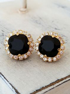 Black Swarovski stud earrings | Bridal earrings by EldorTinaJewelry | http://etsy.me/1kyMdP9