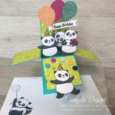 What could be more fun on your birthday than a box full of Pandas having a Party? Nothing right! This fantastic Party Pandas set is available in Sale-a-Bration this year. So with a purchase of just $110 before shipping you can have a Party of Pandas too. #stampinup #confettidesign #cardmakingclass #partypandas #saleabration #cardinabox