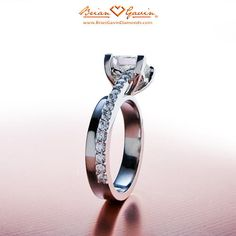 18K White Gold Double Band , Engagement Ring | Pave & Side Stones Diamond Ring.
