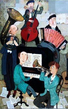 Musicians (Painting), 55x85 cm by Otar Imerlishvili