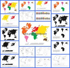 Montessori World Map and Continents printables with 3 color options and lots of possible activities for teaching geography to kids! || Gift of Curiosity