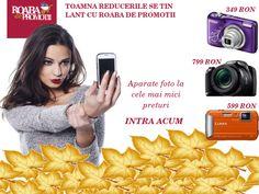 Promotii la Aparate Foto, Huse si Genti  Toamna asta selfie-urile nu se fac singure. Intra acum pe link-ul de mai jos, obtine promotia si bucura-te de cele mai clare fotografii.  http://www.roabadepromotii.ro/Produse/Promotii-Aparate-Foto/  Roaba de promotii - keeping you in touch with promotions