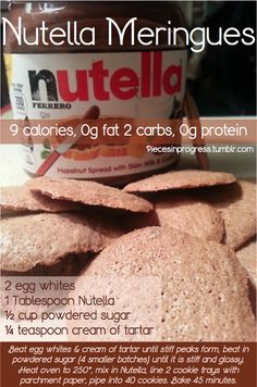 Nutella meringue cookies under 10 calories - healthy treat, going to try soon. Other awesome & easy low calorie cookies. My friends are obsessed with Nutella, definitely going to make this one day for all of us! Low Calorie Cookies, No Calorie Foods, Low Calorie Recipes, Delicious Desserts, Dessert Recipes, Yummy Food, Tasty, Healthy Sweets, Healthy Snacks