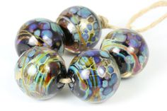 Lampwork glass bead set handmade by Lori Lochner by LoriLochner, $26.50