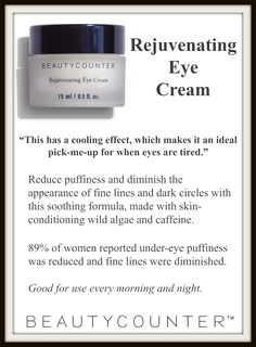 The Rejuvenating Eye Cream is another fan favorite and Beautycounter best seller! I use this eye cream in the evening! Moisturizes, reduces the appearance of fine lines and dark circles? Sign me up!