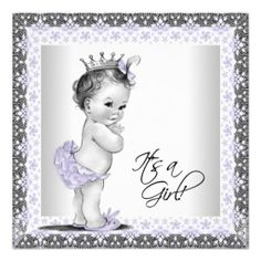 "Adorable purple lavender princess vintage baby girl shower invitation. This cute lavender and gray baby shower invitation is easily customized for your event by simply choosing the ""Customize it!"" button to begin adding your event details, font style, font size & color, and wording. #timelesstreasure"