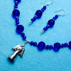 An ANGEL With a Star Watching Over  You+A Beautiful Faceted Bright Blue Necklace+Free Shipping*+FREE EARRINGSq by TjeansJewelry on Etsy