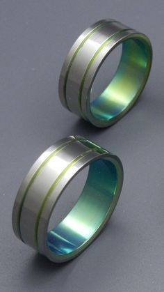 Green Pinstripe Signature Ring  Titanium by MinterandRichterDes, $120.00 @Holli Richins This would be such a good ring for jake.  Um ... can you say nods to Green lantern?