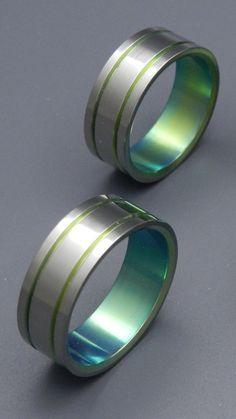 wedding rings titanium rings wood rings mens rings titanium wedding bands eco friendly rings wedding rings alma mater green - Green Lantern Wedding Ring