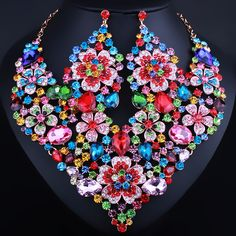 Bridal Jewelry Full Crystal Rhinestones Statement flower necklace and earrings for Women Wedding Party Jewelry sets