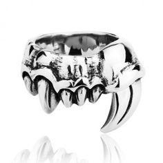 Titanium Punk Demon Teeth Bone Ring $189.90