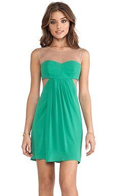 BCBGMAXAZRIA Mesh Panel Dress in Kelly Green | REVOLVE