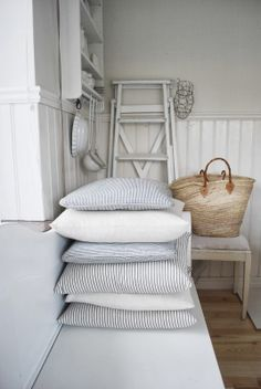 ticking covered + straw tote