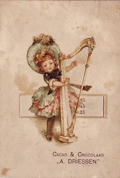 cacao driessen girl with harp folded advert card | Flickr - Photo Sharing!
