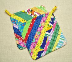 Scrappy Rainbow Insulated Pot Holders  Set of 2  by Bonbonsandmore, $12.00