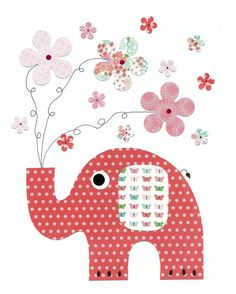 Elephant with Flowers Nursery Artwork Print Baby Room Decoration Kids Room Decor Yellow and Grey Nursery //… Applique Patterns, Applique Quilts, Applique Designs, Quilt Patterns, Quilt Baby, Motifs D'appliques, Nursery Artwork, Baby Shower Presents, Patchwork Baby