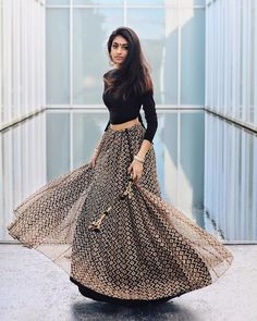 I'll stop wearing black when they invent a darker color 🖤 Outfit Details: Black Wrap Over Backless Crop Top black lace skirt 📸: . Indian Bridal Outfits, Indian Designer Outfits, Designer Dresses, Indian Skirt, Dress Indian Style, Lehnga Dress, Lehenga Choli, Stylish Dresses For Girls, Indian Gowns Dresses