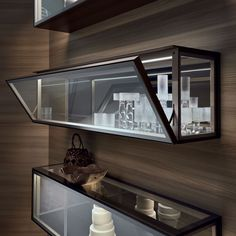 suspended glass cabinet with flap door Alambra with bronzo structure, door, sides and top in clear reflective glass, internal top in bronzo glossy lacquered glass. Furniture, Interior, Cabinet, Iron Furniture, Glass Shelves Kitchen, Home Decor, Cabinet Design, Interior Design, Glass Cabinets Display
