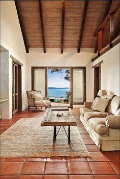 Resultado de imagen para colors to match spanish tile interior design Terracota Floor, Apartment Balconies, Family Room Design, Spanish Style, Tile Floor, House Design, Patio, Terracotta Tile, Living Room