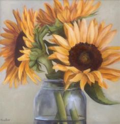 "Daily Paintworks - ""Three sunflowers"" - Original Fine Art for Sale - © Mb Hucker"