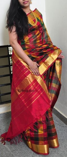 Graced with handwoven pallu, this piece steps back in time showcasing classic intricate pattern and delicate pure zari tapping along the border. Indian Beauty Saree, Indian Sarees, Indian Dresses, Indian Outfits, Indian Clothes, Ethnic Fashion, Indian Fashion, Women's Fashion, Beautiful Saree
